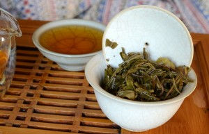 Spent puerh tea leaves