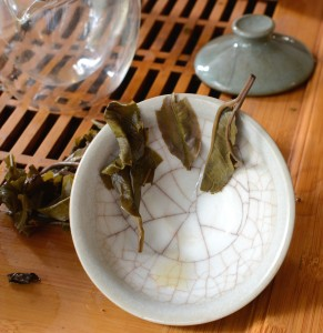 Puerh leaves on a cup