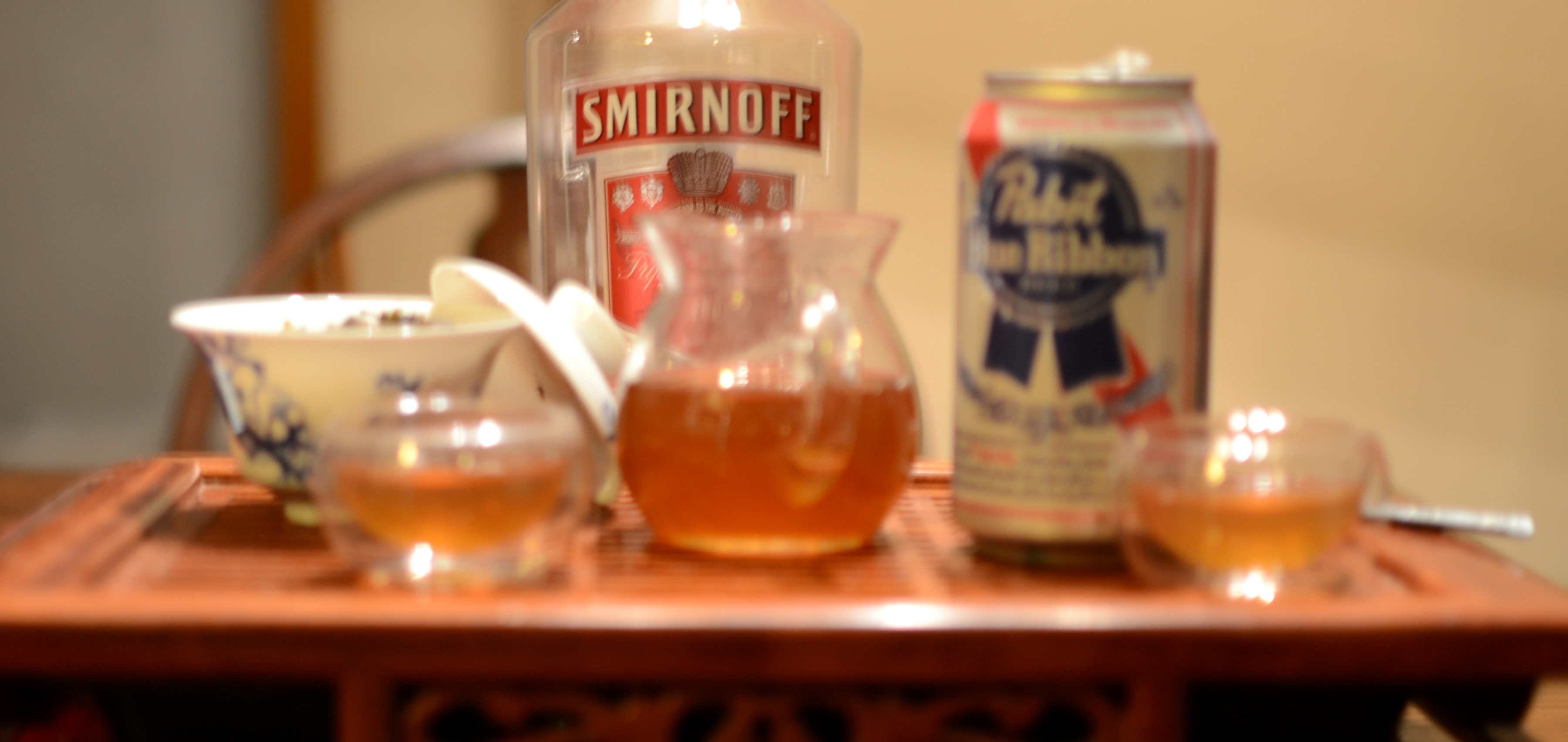 booze on the tea tray